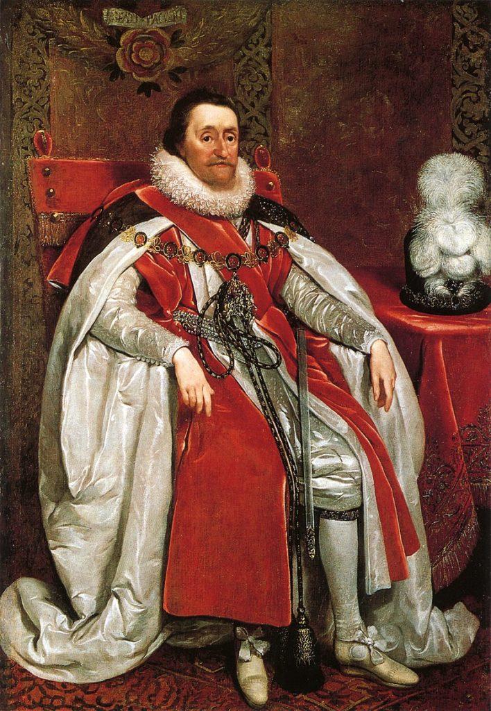 Skotský král Jakub I. Stuart  zuří. Manželka mu uvízne na severu. FOTO: Daniel Mytens I. / Creative Commons / Public Domain