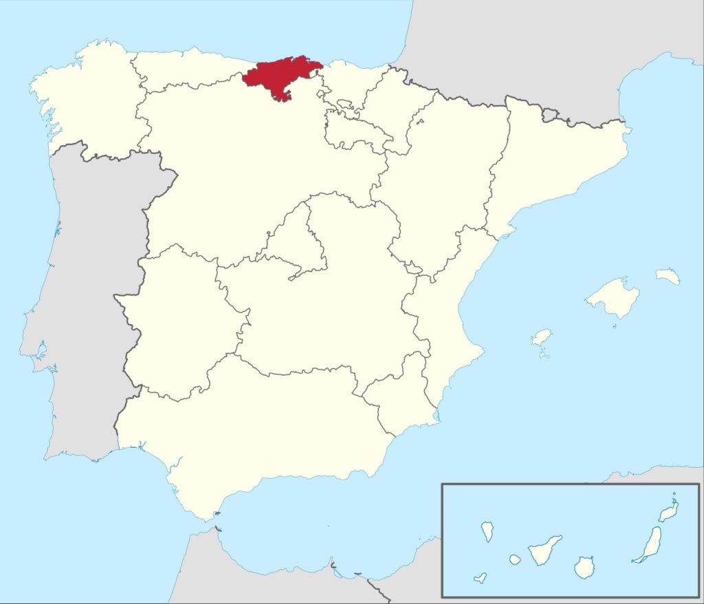 Kantábrie na mapě Španělska, foto: TUBS / Creative Commons / CC BY-SA 3.0