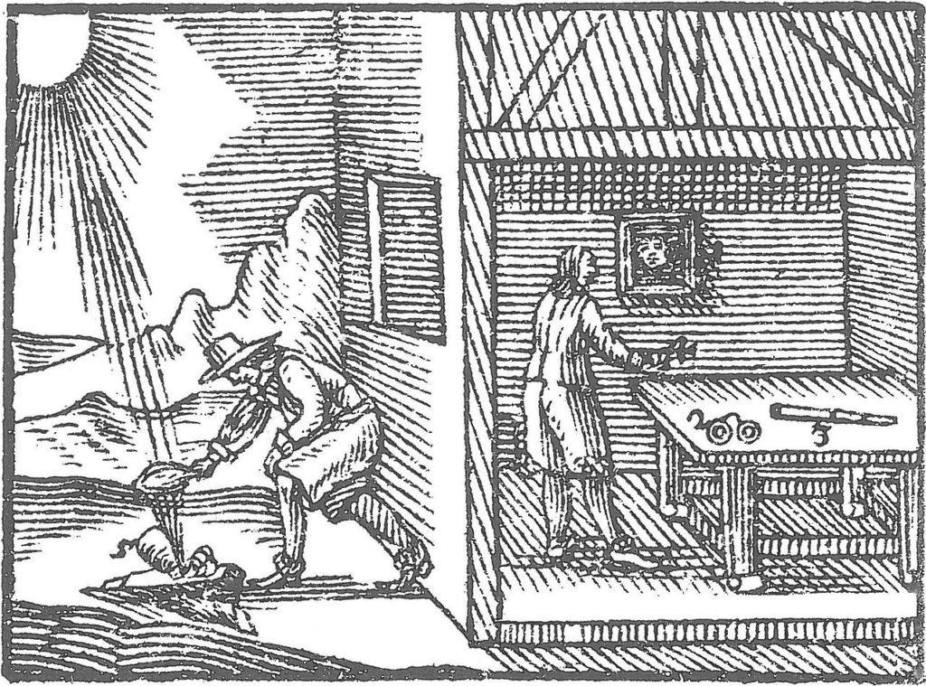 Ilustrace ve spisu Orbis Pictus ze . Století znázorňuje, jak směrovat sluneční paprsky a tím znásobit jejich žár, foto Jan Ámos Komenský / Creative Commons / Public domain