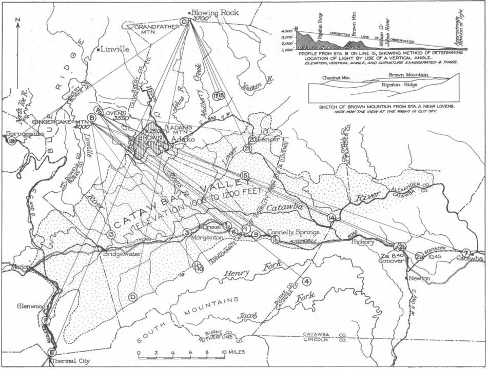 George R. Mansfield vytvoří podrobnou mapu pozorování záhadných světel a dojde k závěru, že jde